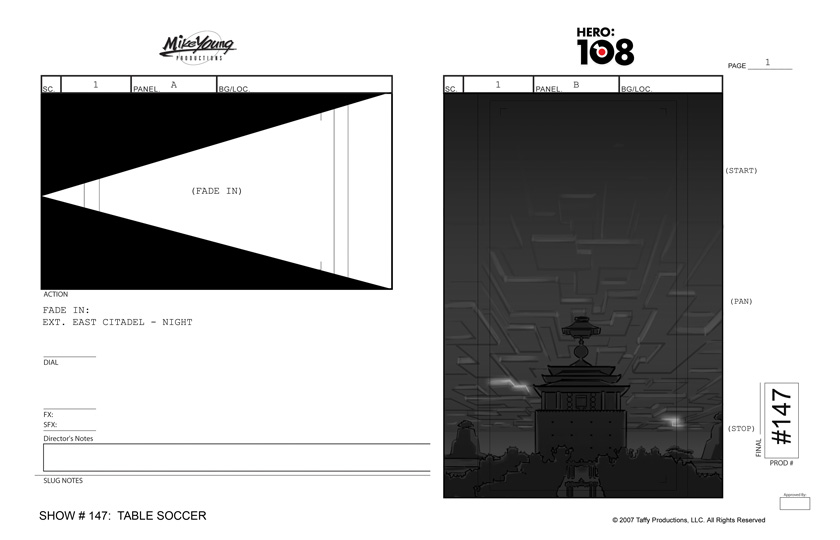 Portfolio - Storyboards - Mike Young - Hero 108 - Table Soccer